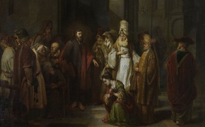 Picture picture, religion, mythology, Christ and the Sinner, Of gerbrand van den Eckhout