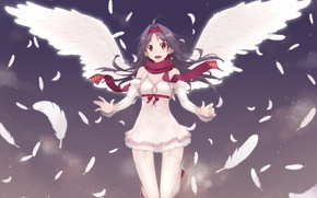 Picture game, smile, anime, cloud, wings, feathers, pretty, angel, MMORPG, asian, cute, manga, pretty girl, scarf, …