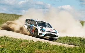 Picture Dust, White, Volkswagen, Speed, Turn, Skid, Red Bull, WRC, Rally, Polo, Sebastien Ogier, Ancestor