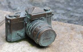 Wallpaper macro, nikon, excavation, the camera, Nikon, old