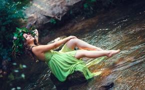 Picture girl, smile, stream, legs, Helen Molchanova