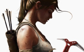 Picture girl, Mike, art, white background, profile, arrows, lara croft, tomb raider, ponytail