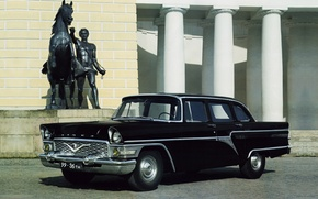 Picture background, black, Seagull, columns, sedan, classic, the front, GAS, 1959, GAZ, Sturua, Chayka