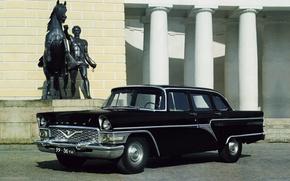 Picture background, black, Seagull, columns, sedan, classic, the front, GAS, 1959, GAZ, Sturua, Chayka