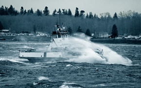 Picture waves, cars, sea, Washington, bow, boat, Puget Sound, ferry, vessel, cars, stormy, Lummi Indian Reservation, ...
