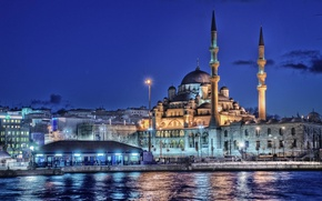 Picture sea, night, lights, home, Istanbul, Turkey, the minaret, New mosque