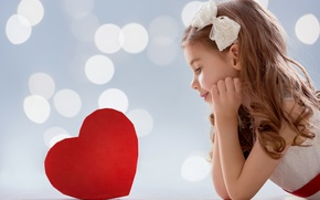 Picture Heart, Girl, Bow, Valentine's Day, Valentine's Day