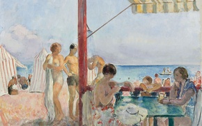 Picture people, stay, picture, genre, Henri Lebacq, Cafe on the beach