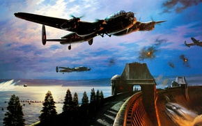 Picture bomber, art, airplane, painting, ww2, Avro Lancaster