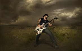 Picture clouds, storm, guitarist, rock