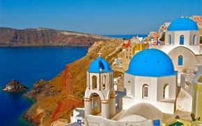 Picture rocks, coast, Santorini, Greece, Church, Santorini, Oia, Greece, The Aegean sea