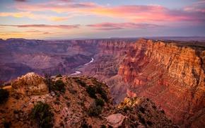 Wallpaper USA, stones, river, rocks, Grand Canyon, panorama, canyon, mountains