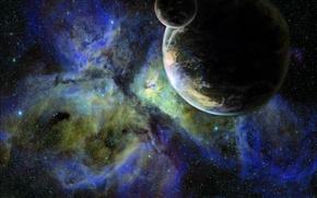 Picture stars, planet, satellite, galaxy