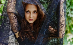 Wallpaper posing, smile, looks, brunette, brown eyes, girl, lips, simpotyazhka