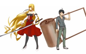 Picture girl, weapons, anime, art, guy, kizumonogatari