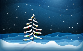 Picture snow, decoration, tree, new year