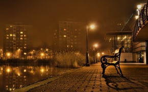 Wallpaper bench, night landscape, autumn