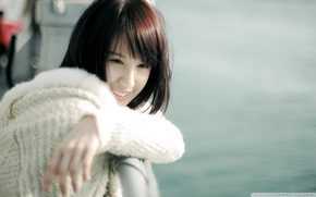 Picture smile, in white, sweater, Asian girl, asian women