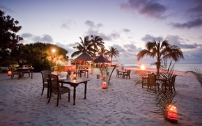 Picture palm trees, mood, the ocean, stay, coast, the evening, candles, relax, restaurant, Bungalow