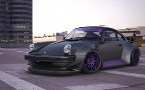 Picture car, machine, auto, street, building, 911, Porsche, black, Porsche, black, Turbo, avto, Turbo
