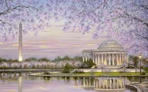 Picture water, flowers, lake, pond, Park, spring, Robert Finale, flowering, obelisk, painting, gazebo with columns, spring, …