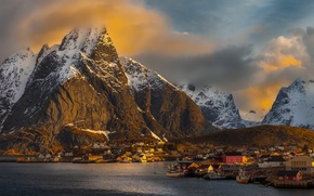 Picture clouds, snow, sunset, mountains, home, boats, village, Norway, sunlight, Pure, Nordland