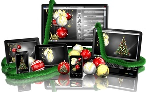 Picture reflection, holiday, balls, new year, white background, laptop, monitor, tinsel, tablet, screen, smartphone, Christmas