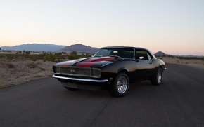 Picture Camaro, Black, Chevy, 1968, Road