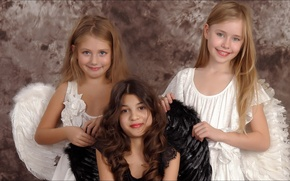 Picture smile, Girls, three, angels, dolls, teens