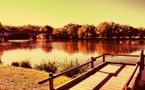 Picture bridge, river, pier, Bank