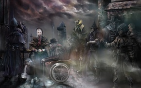 Picture girl, the city, smoke, Doll, monsters, male, Art, Hunter, Bloodborne: born of blood, Нunter, Рlain …