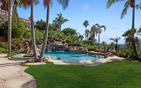 Wallpaper Nature, Pool, Palm trees, Park, Lawn