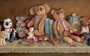Picture toys, books, art, bear, collection, shelf, Janet Kruskamp
