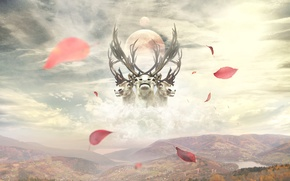 Picture leaves, clouds, mountains, collage, desktop, wallpaper, deer, photo manipulation