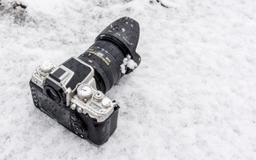 Picture winter, snow, background, the camera, lens, Nikon 1 AW1