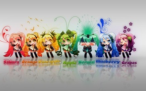 Picture grey, background, Hatsune Miku, colorful, Vocaloid, a lot, avatars, hairstyles