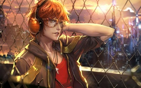 Picture look, the fence, anime, headphones, art, glasses, guy