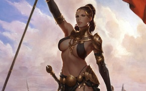 Picture fantasy, Girl, sword, warrior, art