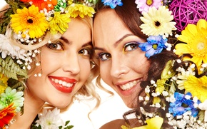 Picture flowers, girls, Two, smile