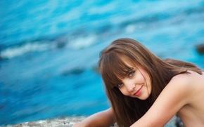Picture sea, look, girl, smile, brown hair, amelie