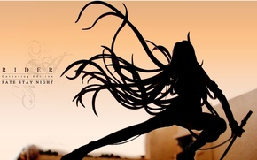Picture sword, silhouette, chain, Fate Stay Night, long hair, Rider, Fate stay night