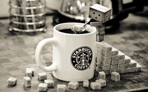 Wallpaper black and white, sugar, coffee, danbo, mug