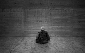 Wallpaper meditation, black and white, monk, wall