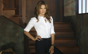 Picture pose, watch, actress, the series, shirt, Castle, Stana Katic, Castle, Stana Katic, Kate Beckett, Kate …