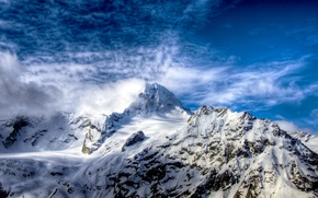 Picture white, the sky, clouds, snow, mountains, rocks, hdr, top, Russia, blue, Sofia, the Caucasus, ridge, …