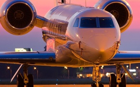 Picture Lights, Night, Airport, The plane, Private