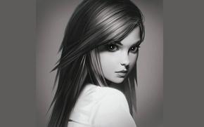 Picture look, face, portrait, Girl, shoulder, Ilya Kuvshinov