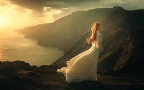 Picture girl, mountains, the wind, dress, The Journey, TJ Drysdale