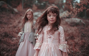 Picture forest, hair, girls, dresses