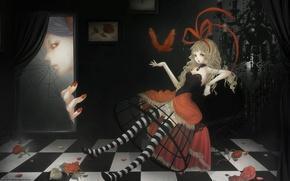Picture room, roses, web, blonde, red, bird, sitting, art, striped stockings, voyeurism, crinoline, Green Glass